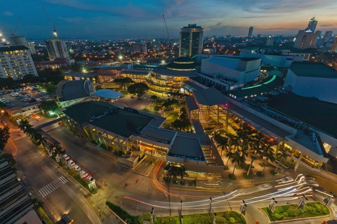 Aerial view of Ayala Center Cebu, overlooking Cebu Business Park with the mall's main drop-off area on the foreground - Photo by: Robert Bagares